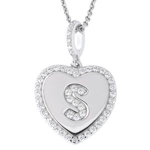 Letter S Initial Heart CZ Pendant Sterling Silver